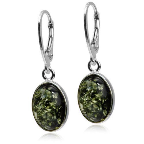 Amber Green Sterling Silver Classic (Silver Green Amber Earrings)