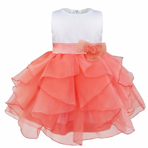 FEESHOW Baby Girls Organza Ruffle Wedding Party Christening Baptism Flower Dress Watermelon Red 6-9 Months