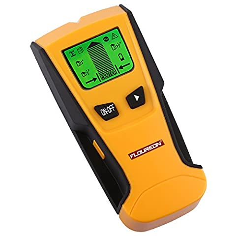Floureon TH-210 3 in 1 Backlight Stud Metal AC Live Wire Finder Electronic Stud Wall Finder Detector Scanner, Yellow