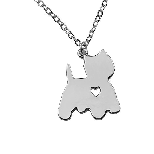 Silvertone I Love My Dog Lover Heart Outline Yorkie Yorkshire Terrier Pet Puppy Rescue Pendant Necklace