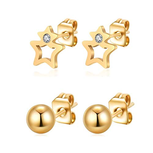 Jinsen 2 Pairs Stainless Steel 14K Gold Plated Cut Out Star and Ball Stud Earrings Set (js000008)