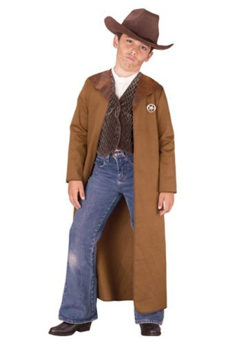 Old West Sheriff Kids Costume, L/12-14, Brown -