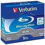 VERBATIM BD-RE SL X5 25GB SPEED 2XJEWEL CASE PACK 5 REWRITABLE
