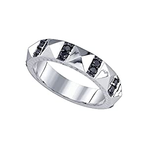 10kt White Gold Womens Round Black Colored Diamond Band Ring 1/2 Cttw = 0.46 Cttw