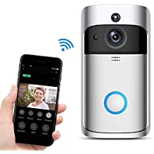 Smart Wireless Visual Doorbell Voice Intercom Remote Electronic Cat Eye for Home (Silver)