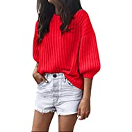 Fashion Womens Solid O-Neck Loose Knitted 3/4 Lantern Sleeve Pullover Sweater Blouse ODGear