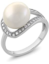 10MM Cultured Freshwater Pearl and Round Zirconia 925 Sterling Silver Ring
