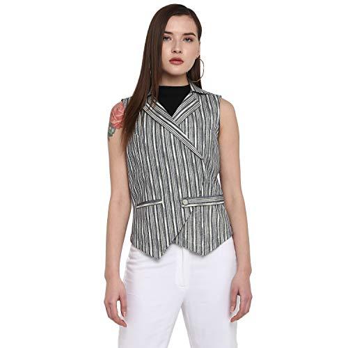 DEEBACO Women's Regular Fit Double Breasted Striped Printed Sleeveless Blazer for Women Stylish Latest Vest Blazer for Girls (Black, Red, Off White, Grey)