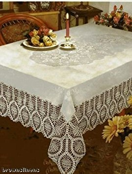 """Better Home New Crochet Vinyl Lace Tablecloth, 54"""" Wide x 72"""" Long Oblong, White"""