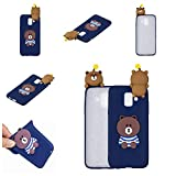 Ostop Samsung Galaxy A8 Plus 2018 Case,3D Cute Cartoon Animal Protective Phone Case,Soft Silicone Rubber Skin Cover,Blue Brown Bear Pattern Slim Fit Shockproof Shell