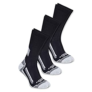 Carhartt Men's Force Performance Work Crew Socks (3/6 Packs), Black, Shoe Size: 6-12