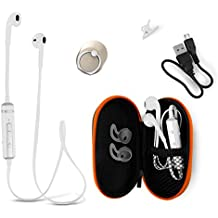 Bluetooth Earphones Headset with Microphone from BT WAVES - Best Wireless Earbuds Apple Style Earpods Headphones for iPhone and Android Phones Enjoy Clear Stereo Sound with 2 Years Guarantee