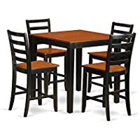 East West Furniture PBFA5-BLK-W 5 Piece Counter Height Table and 4 Kitchen Chairs Set