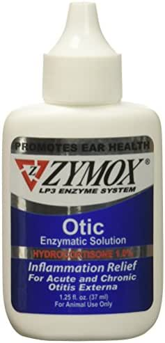 ZYMOX OTIC with Hydrocortisone 1.0 Ear Solution Treatment Bacterial, Viral, and Yeast infections 1.25 fl.oz og for Dogs Cats