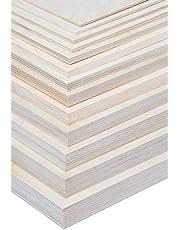 Alsino Craft houten platen om te knutselen, doe-het-zelf multiplex platen op maat te snijden, massief natuurkleur, onbehandeld
