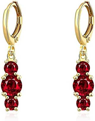 Angelady 18K Yellow Gold Plated Women's Three Red Crystal Zircon Element Crystal Dangle Earrings