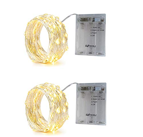 BXROIU 2 x Fairy String Lights with Timer Battery Operated Silver Wire 3 Mode Chains 16.5ft 50 LEDs Firefly String Lights for Bedroom Christmas Party Wedding Decoration (Warm White)