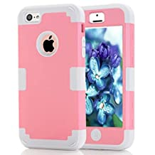 iPhone 5C Case Candy Color Series -Lantier Hybrid of Soft Silicone Interior and Hard PC Exterior Shield Slim Lightweight Shockproof Full Body Protective Case for iPhone 5C Pink+White