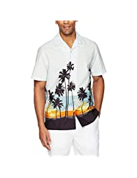 Colmkley Men's Shirt Button Down Casual Holiday Camp Beach Short Sleeve Tee Tops