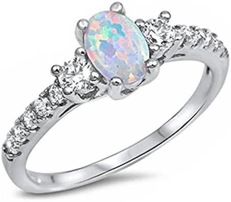 Oval Lab Created White Opal & White Cz Fashion .925 Sterling Silver Ring Sizes 3-13