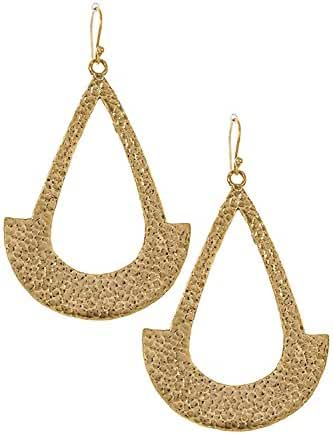 Trendy Fashion Jewelry Hammered Crescent Teardrop End Dangle Earring By Fashion Destination