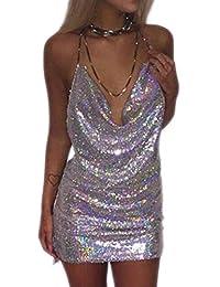 Women's Sexy Halter sequins Sling V-necked Nightclub Dress