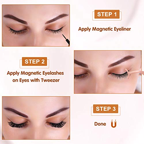 Brightup Magnetic Eyelashes with Eyeliner Kit, 10 Pairs 3D Natural Look Reusable False Magnetic lashes Set, 2 Tubes Long Lasting Magnetic Eyeliner 10 mL with Tweezers (No Glue Needed), Ideal For Gift