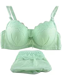 Womens Junior Girls Lace Extreme Plunge Push Up Bra with Hipster Panty Set