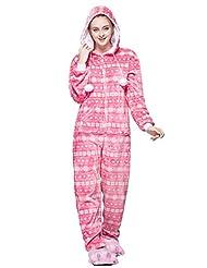 Honeystore Loungewear Women's Cozy Fleece Pink Snowflake Onesie Pajama