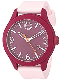 Esq Movado 7101440 Esq One Light Pink Silicone Dark Red Dial Watch