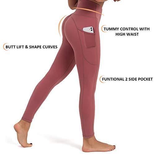 FIGESTIN Women's Yoga Pants High Waist with Side Pockets Workout Legging Tummy Control 4 Way Stretch Yoga Leggings Merlot red Size S