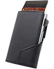 Credit Card Holders Leather Wallet, RFID Blocking Credit Card and Cash Wallet, Automatic Pop-Up Metal Card Wallet, Leather and Aluminum Mens Contactless Card Protector(Gray)