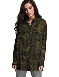 Women`s Button Down Shirt Long Sleeve Causal Military Camouflage Blouse With Pocket