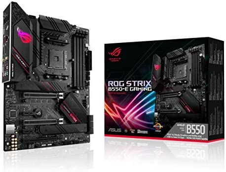 ASUS ROG Strix B550-E Gaming AMD AM4 (third Gen Ryzen ATX Gaming Motherboard (PCIe 4.0, NVIDIA SLI, WiFi 6, 2.5Gb LAN, 14+2 Power Stages, Front USB 3.2 Type-C, Addressable Gen 2 RGB and Aura Sync)