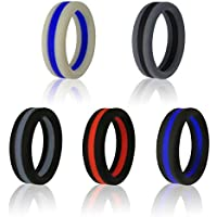 K.T. FANCY Fashion Silicone Wedding Rings Bands for Men Boys Color Stitching Hypoallergenic 5 Pack for Size 9-12