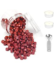 Wax Sealing Beads, HOSAIL 400 Pieces Octagon Wax Seal Beads Sticks with 1 Piece Wax Melting Spoon and 2 Pieces White Candles for Wax Sealing Stamp Kit (Wine red)