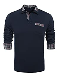 a8b3937970b4 COOFANDY Men s Classic Casual Long Sleeve Plaid Collar Polo Shirt with  Pockets