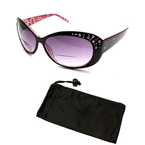 - Beautiful Women's Rhinestone Bifocal Sun Readers Reading + Sunglasses All In One (Black, 2.25)