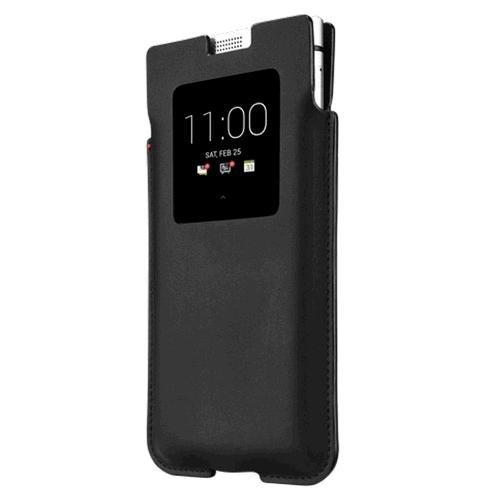 Genuine BlackBerry KEYone Smart Leather Pocket Pouch Case Cover - Black - Blackberry Black Leather Pouch