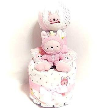 75ba0a0f6964d 18013おむつケーキ2段 女の子 日本製ベビーギフトセット ananocafeアナノカフェ オムツケーキ出産