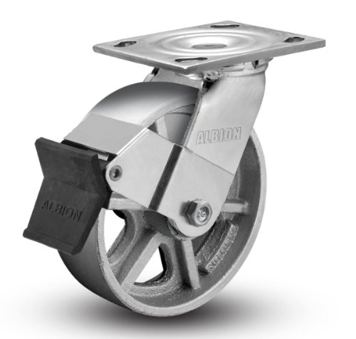 Albion-11-Series-5-Diameter-Cast-Iron-Wheel-Empire-Medium-Heavy-Duty-Swivel-Caster-with-Face-Brake-Roller-Bearing-4-12-Length-X-4-Width-Plate-900lbs-Capacity-Pack-of-4