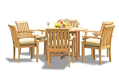 TeakStation 6 Seater Grade-A Teak Wood 7 Pc Dining Set: 48