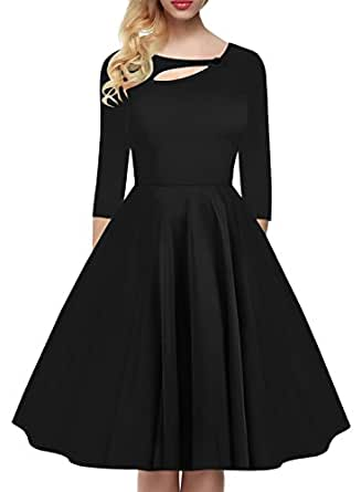 BOKALY Women's 1950s Vintage Keyhole Neck Classical Casual Party Swing Dress BK190 (Small, Black)