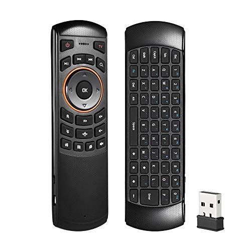 Remote Control Wireless Keyboard and Remote Receiver Combo - Pausseo LED Light 2.4GHz RF Multi-Touch Touchpad Outdoor/Indoor USB Rechargeable for Android TV Box Windows PC,HTPC,IPTV,PC - Type 1 Extension Bay
