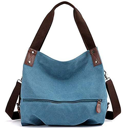 Women's Canvas Shoulder Bags Handbags Crossbody Satchel Work Tote Purse Bag (Blue) ()