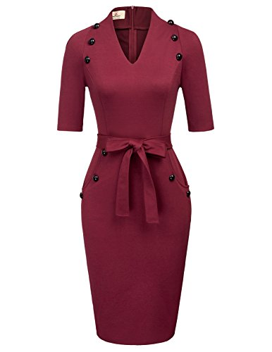 GRACE KARIN Women's Charming Trendy Business Office Pencil Dress with Buttons M Wine Red
