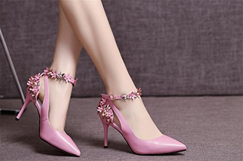 Stiletto Bride Dress Straps Good Quality Women's Heels High Fashion Party MNII Pink Shiny Wedding Flowers Pumps vUqIP0