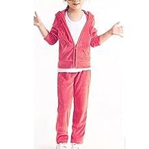 Banner Bonnie Girls' Velour Long Zip Hoodie Tracksuit Sweatshirt Sweatpant Sets