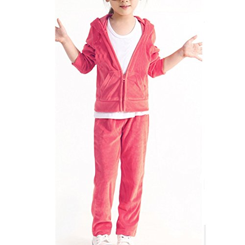 [Banner Bonnie Girls' Velour Long Zip Tracksuit Hoody Sweatshirt Sweatpant Sets Pink 7-8 Years] (Pink Sweat Suits)