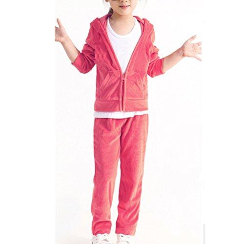 Girls Velour Tracksuit - Banner Bonnie Girls' Velour Long Zip Tracksuit Hoody Sweatshirt Sweatpant Sets Pink 5-6 Years